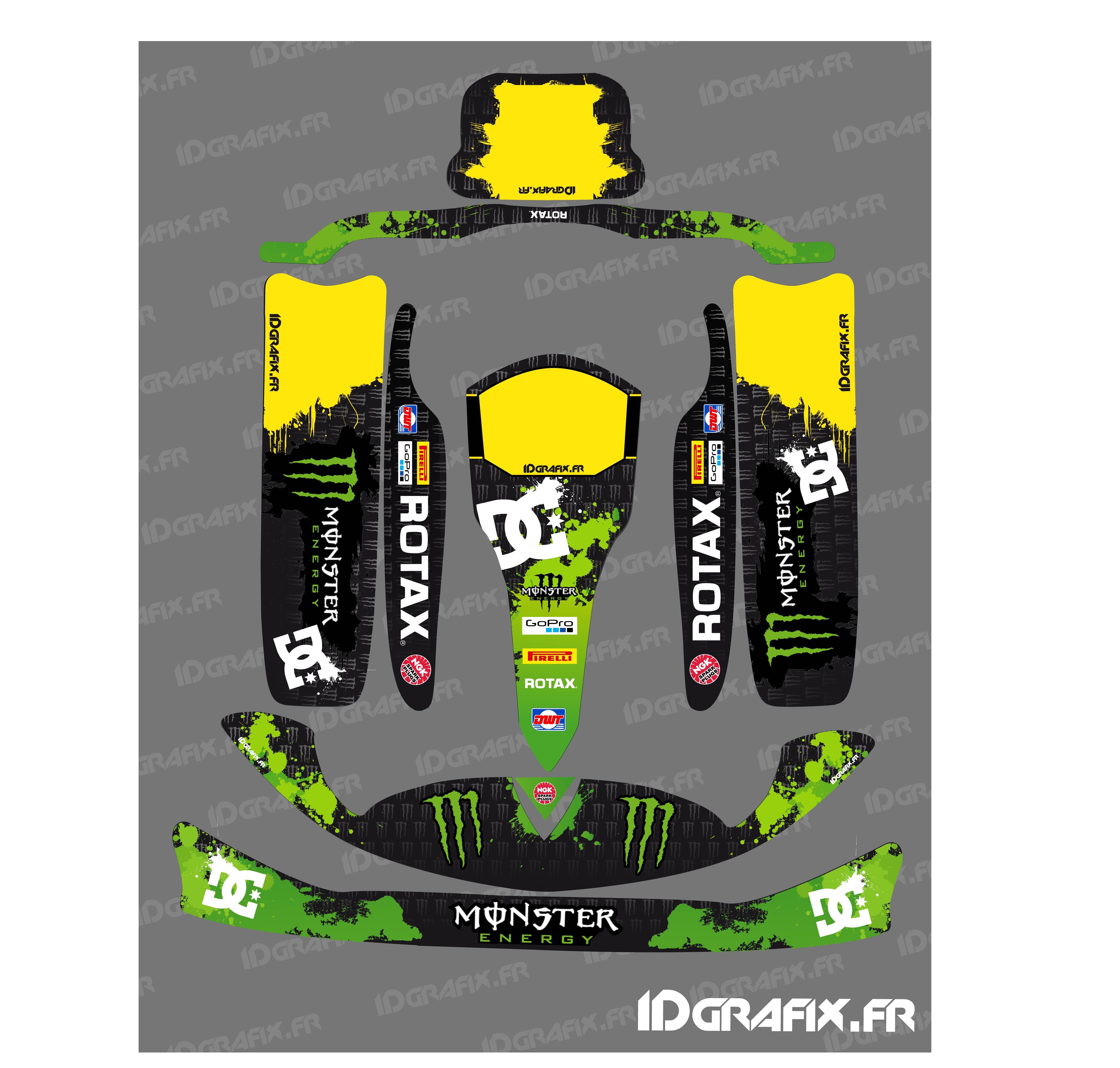 photo du kit décoration , Kit déco 100 % Personnalisé Monster pour Karting  Rotax 125