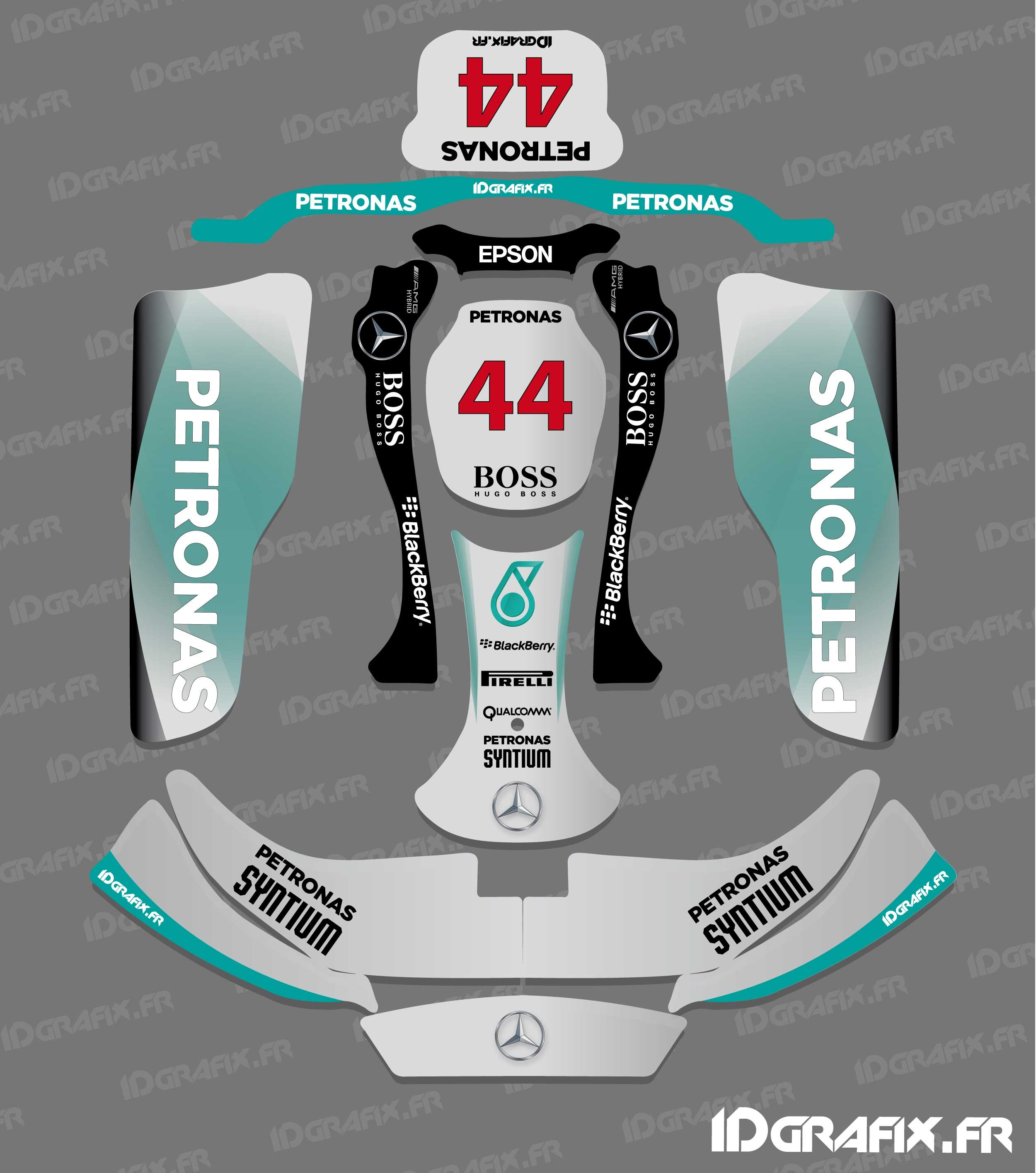 photo du kit décoration , Kit déco F1,series Mercedes pour Karting CRG  Rotax 125