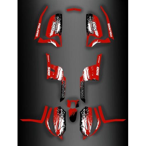 photo du kit décoration - Kit décoration Polaris Racing RED - IDgrafix - Polaris 500 Scrambler (après 2012)