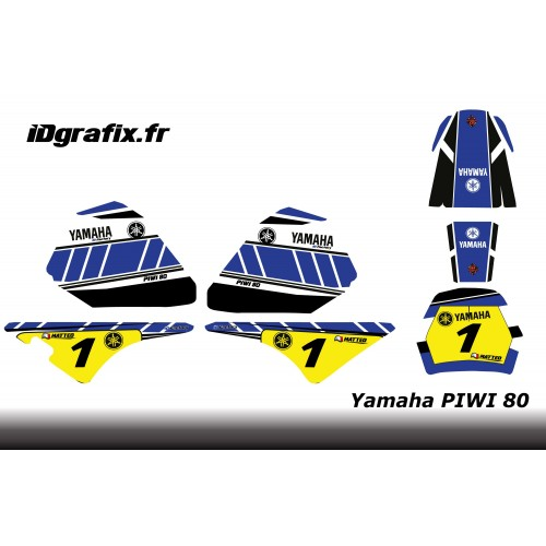 photo du kit décoration - Kit décoration Blue Vintage Full - IDgrafix - Yamaha 80 Piwi