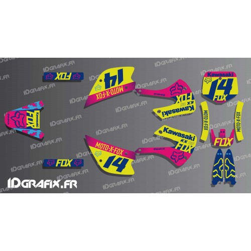 photo du kit décoration - Kit déco FOX Racing pour Kawasaki KX 85 --