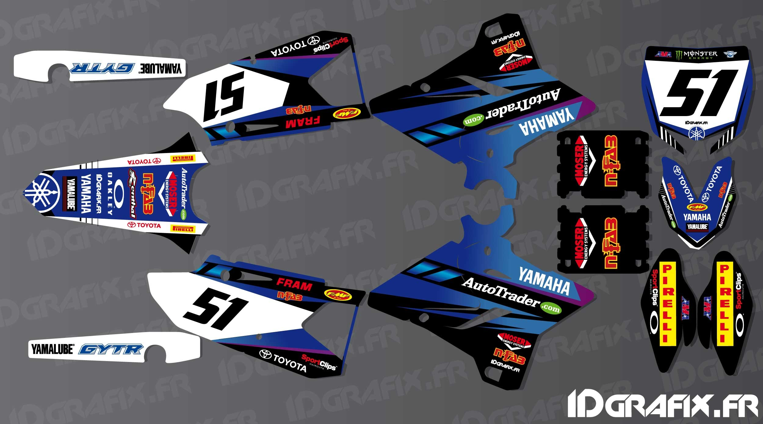 Kit Decoration Justin Barcia Edition   Yamaha YZ/YZF 125 250 450   .