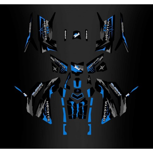 Kit décoration Monster Blue Edition (Full) - IDgrafix - Polaris 850/1000 Scrambler