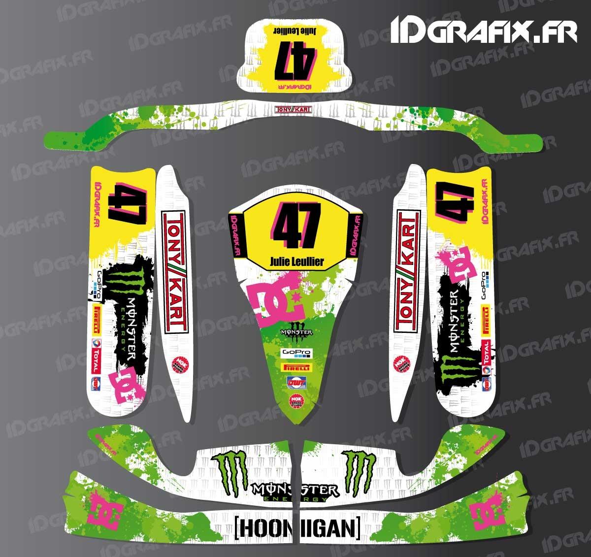 photo du kit décoration , Kit déco 100 % Personnalisé Monster pour Karting  TonyKart M4 +