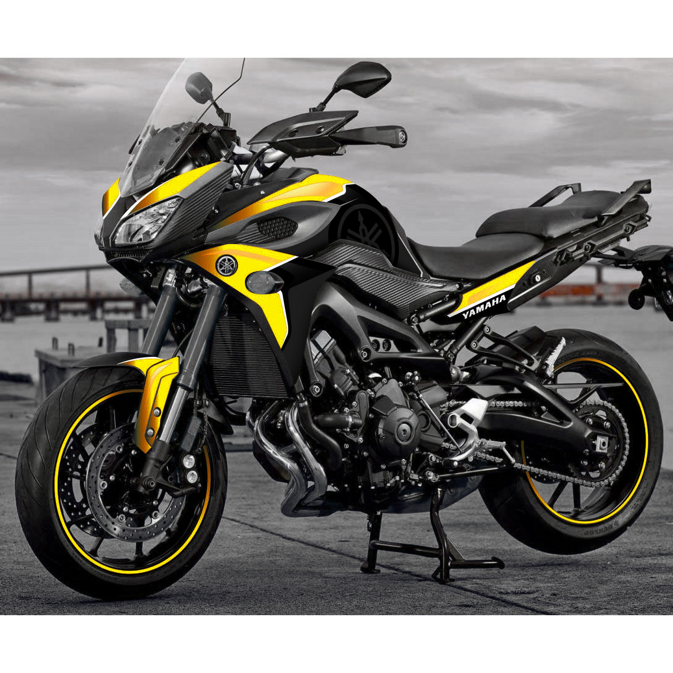 Kit d coration yellow edition yamaha mt 09 tracer for Decoration yamaha