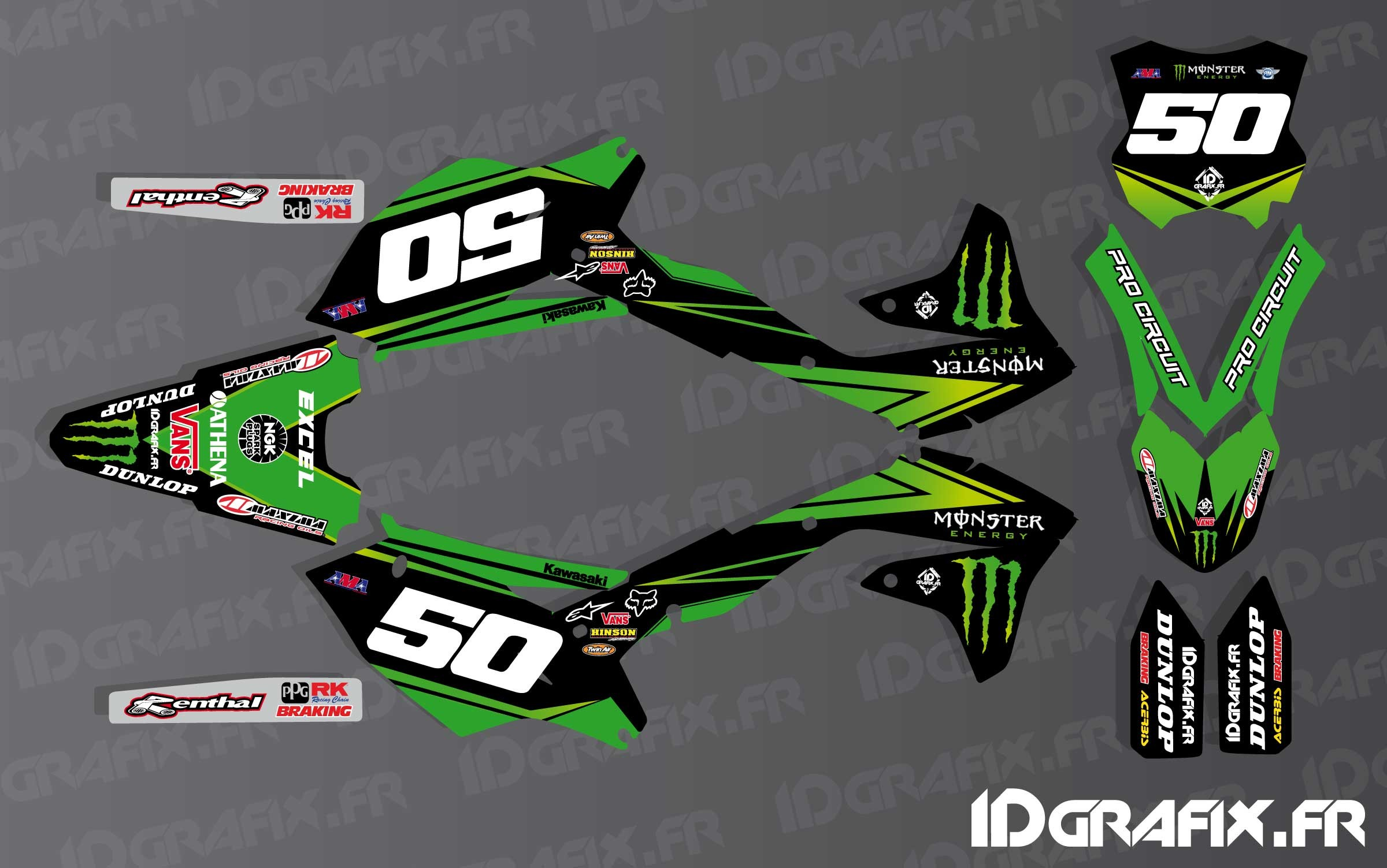 photo du kit décoration , Kit déco US Ama Pro Circuit series pour Kawasaki  KX/
