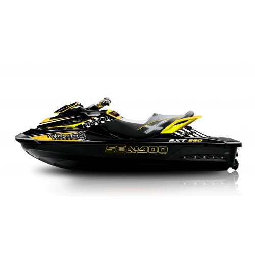 photo du kit décoration - Kit décoration Monster Jaune pour Seadoo RXT 260 / 300 (coque S3)