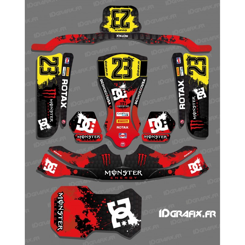 Kit deco 100 custom monster red for kart kg evo idgrafix for Deco karting