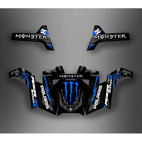 photo du kit décoration - Kit décoration Monster Bleu - IDgrafix - Polaris RZR 800S / 800