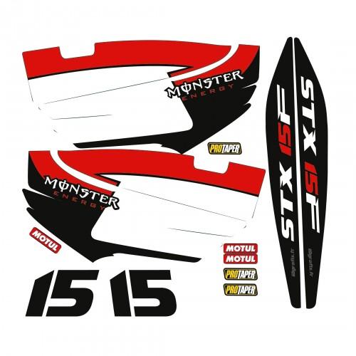Kit décoration Partiel pour Kawasaki STX 15F Rouge-idgrafix