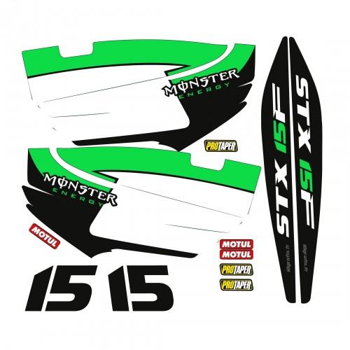 Kit dekor Teilweise für Kawasaki STX-15F Grün -idgrafix