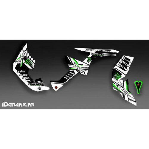 Kit decoration 100% Custom Monster Full (White/Green)- IDgrafix - Can Am Renegade - IDgrafix