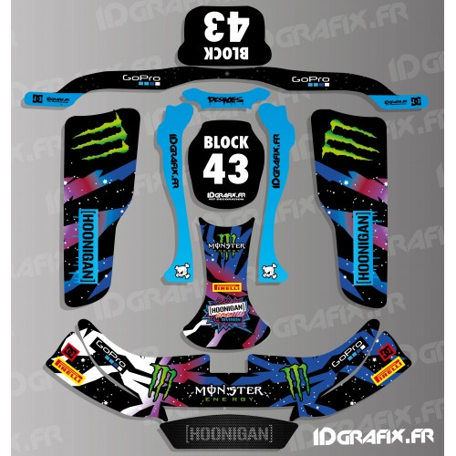 Kit deco 100% Custom Block Hoonigan series for Kart KG EVO - IDgrafix
