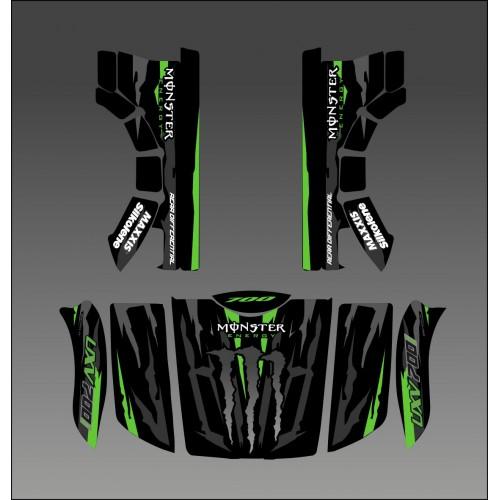Kit déco 100% Monster Vert Edition - Idgrafix - Kymco UXV 500-700-idgrafix