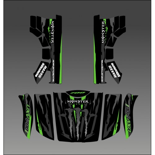 Kit deco 100% Monster Green Edition - Idgrafix - Kymco UXV 500-700-idgrafix
