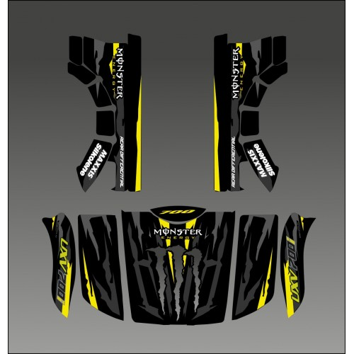 photo du kit décoration - Kit déco 100% Monster Jaune Edition - Idgrafix - Kymco UXV 700