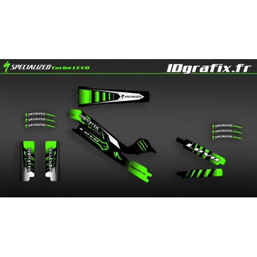 Kit déco 100% Perso Monster Edition Full (Vert) - Specialized Turbo Levo-idgrafix