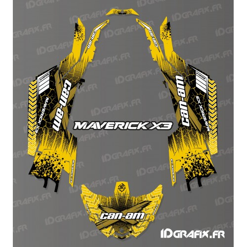 photo du kit décoration - Kit décoration Cracked Series Jaune - Idgrafix - Can Am Maverick X3