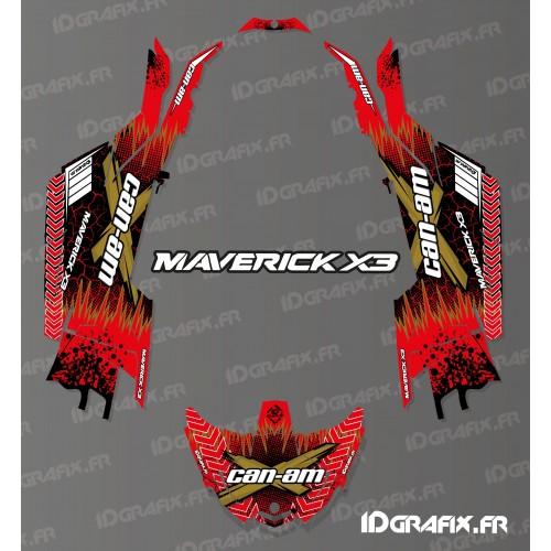Kit de decoración Agrietado de la Serie Roja - Idgrafix - Can Am Maverick X3