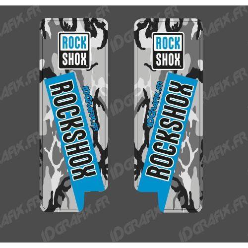 Adesivi Protezione Forcella RockShox Camo (Blu) - Specialized Turbo Levo -idgrafix