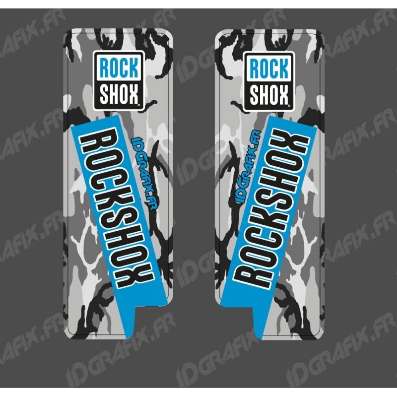 Stickers Protection Fourche RockShox Camo (Bleu) - Specialized Turbo Levo-idgrafix
