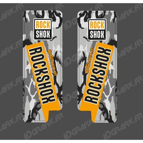 Stickers Protection Fourche RockShox Camo (Orange) - Specialized Turbo Levo-idgrafix