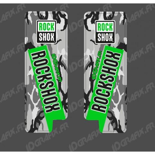 Adesivi Protezione Forcella RockShox Camo (Verde) - Specialized Turbo Levo -idgrafix