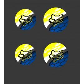 Lot de 4 stickers bouchons de roues Fox (16cm / 19cm de diamètre)-idgrafix