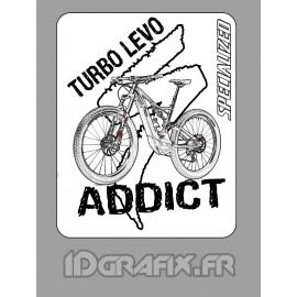 Etiqueta engomada de la 7,5x6cm - Turbo Levo Adicto -idgrafix