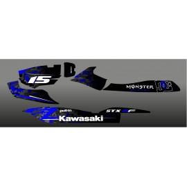 Kit dekoration, Digital Edition, Blau für Kawasaki STX-15F -idgrafix