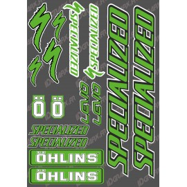 Board Sticker 21x30cm (Green/Black) - Specialized / Ohlins - IDgrafix