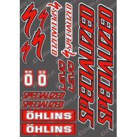 Board Sticker 21x30cm (Red/Black) - Specialized / Ohlins - IDgrafix