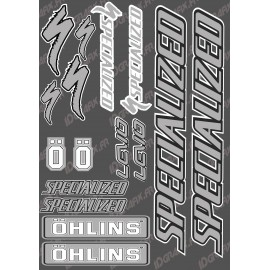 Board Sticker 21x30cm (Grey/Black) - Specialized / Ohlins - IDgrafix