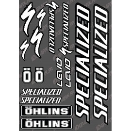 Board Sticker 21x30cm (Black/White) - Specialized / Ohlins - IDgrafix