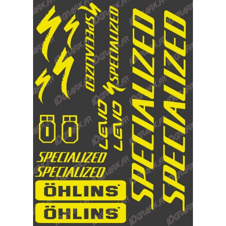 Planche Sticker 21x30cm (Jaune Fluo) - Specialized / Ohlins