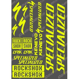 Planche Sticker 21x30cm (Jaune Fluo) - Specialized / Lyrik-idgrafix