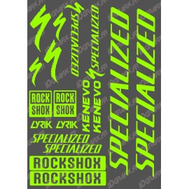 Planche Sticker 21x30cm (Vert Fluo) - Specialized / Lyrik