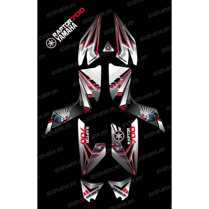 Kit de decoración Rojo Flash - IDgrafix - Yamaha Raptor 700 -idgrafix