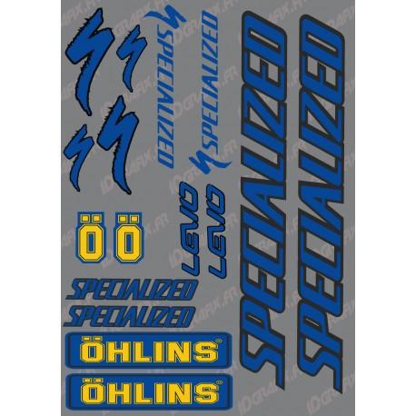 Planche Sticker 21x30cm (Bleu/Noir/Jaune) - Specialized / Ohlins-idgrafix