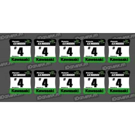 Lote de 10 Pegatinas de cubos de las ruedas Kawasaki -idgrafix