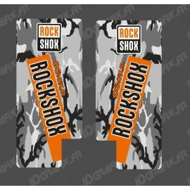 STICKERS PROTECTION FORK ROCKSHOX REBA (Camo Orange) - IDgrafix
