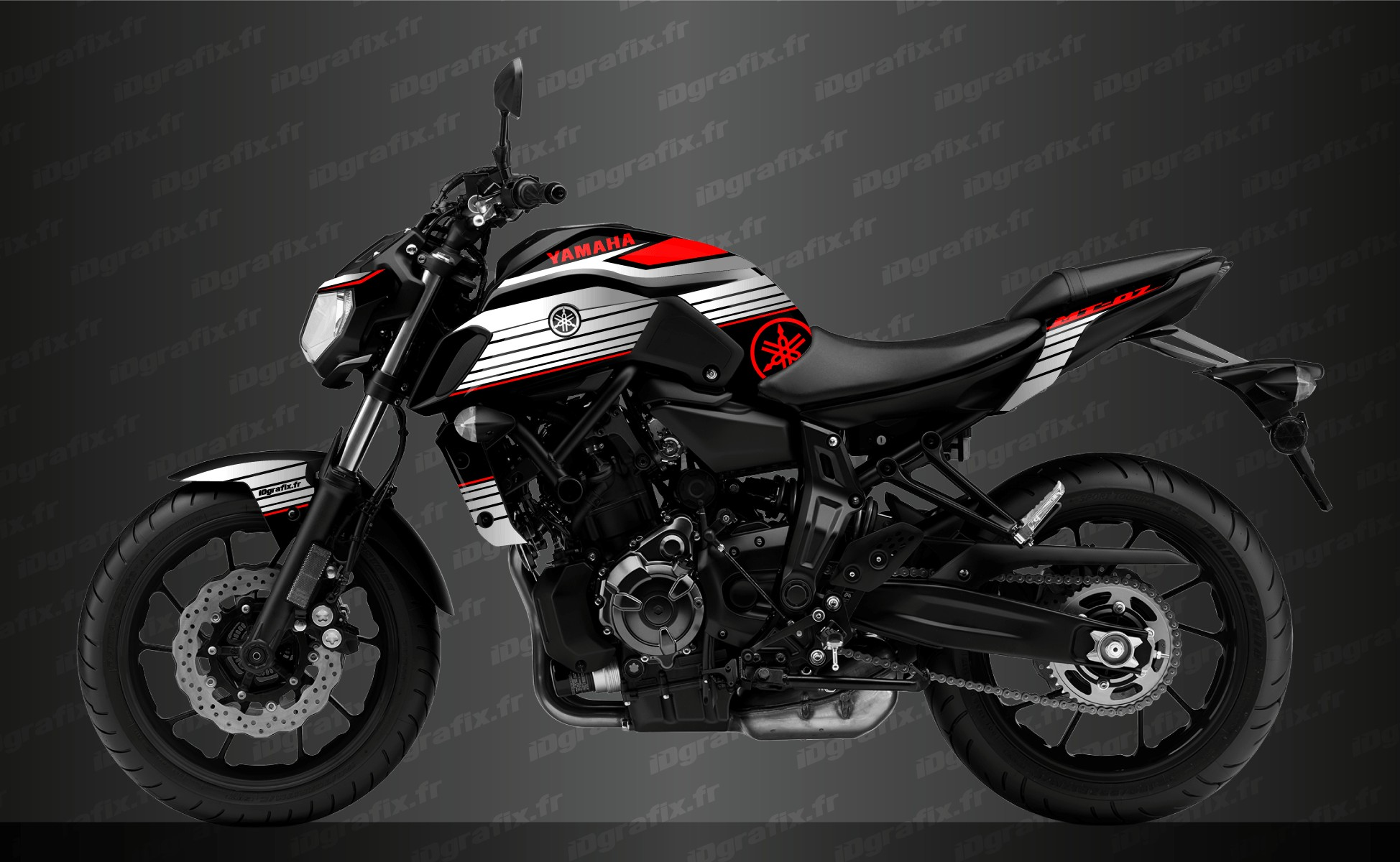 Can Am Ds 450 >> Kit decoration Racing Red - IDgrafix - Yamaha MT-07 (after 2018)