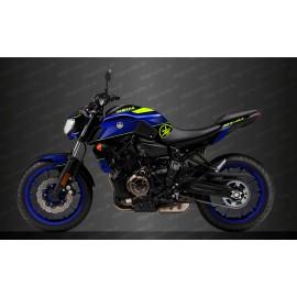 Kit décoration Racing Bleu/jaune Fluo - IDgrafix - Yamaha MT-07 (après 2018)