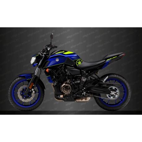 Kit décoration Racing Bleu/jaune Fluo - IDgrafix - Yamaha MT-07 (après 2018)-idgrafix