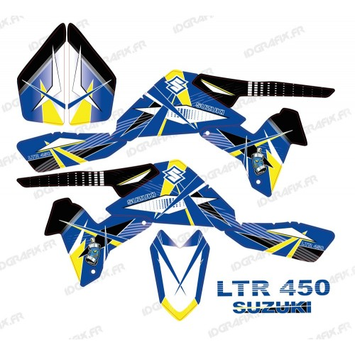 Kit décoration Geometric Bleu - IDgrafix - Suzuki LTR 450-idgrafix