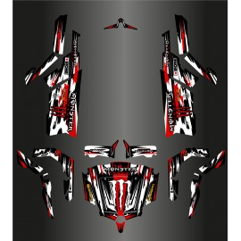 Kit décoration Monster Edition FULL (Blanc/Rouge) - Idgrafix - CF Moto ZForce