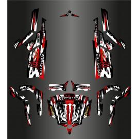 Kit de décoration Monstre Edició COMPLETA (Blanc/Vermell) - Idgrafix - CF Moto ZForce