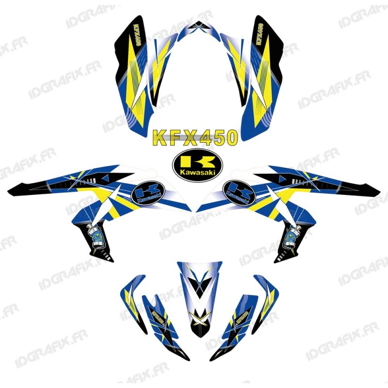 Kit décoration Geometric Bleu - IDgrafix - Kawasaki KFX 450R - Idgrafix