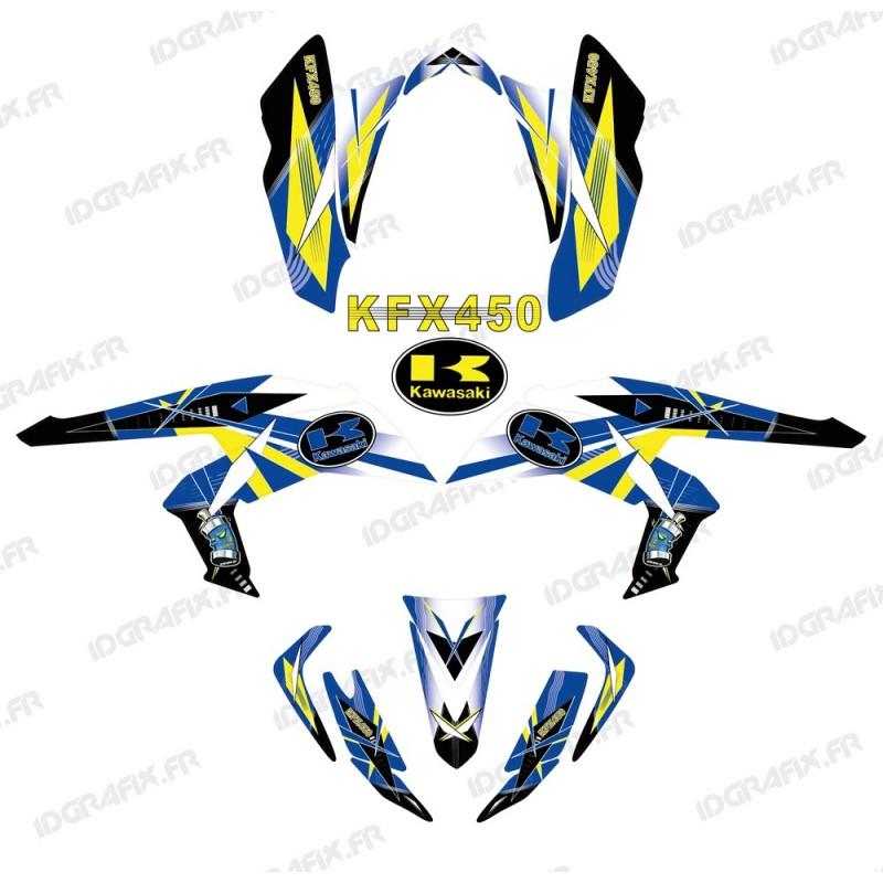 Kit de decoración Geométrica, Azul - IDgrafix - Kawasaki KFX 450R