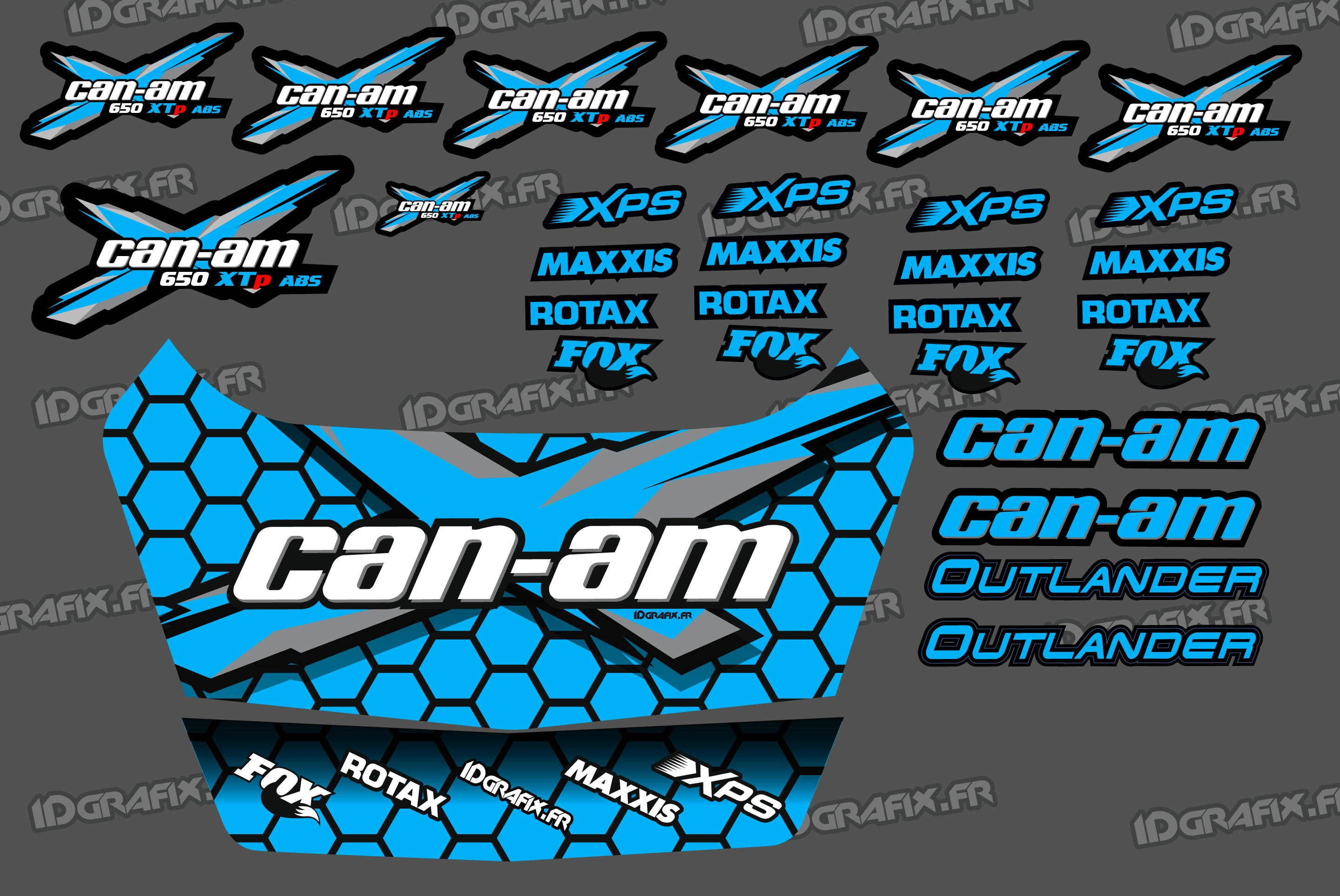 Kit Stickers Can Am Outlander Safety Deposit Box Blue